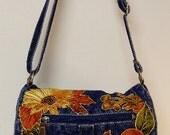 Denim Handbag Unique Custom Autumn Fabric Applique Designed Hand Painted