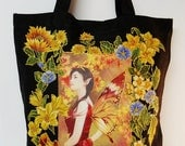 Fun Fantasy Black Goth Tote Bag Hand Painted Colorful Fairy Fabric Applique Design