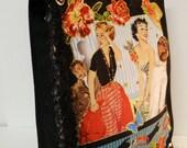 Black Canvas Tote With Custom Retro Fabric Applique Design and Black Fuzzy Beaded Fringe