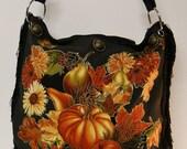 Canvas Black Handbag with Custom Fabric Applique Autumn Floral Fruit Design with Black Fringe