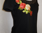 Women's Black Pullover Custom Designed floral Rose Fabric Appliques and Studded Embellishments
