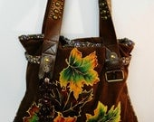 Holiday Sale 5% Off Autumn Delights Brown Handbag Custom Hand painted Corduroy Fabric Applique Design