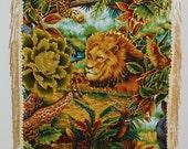 Custom Canvas Tote Jungle Fabric Applique Designed with Fringe and Embellishments