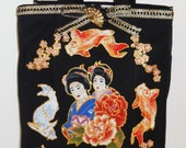 Black Canvas Tote with Fabric Applique Asian Designs of Geshia Girl, florals and Kio Fish