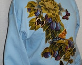 BIG Sale 50% OFF Women's Blue Custom Sweatshirt Fabric Applique Designed with Floral, Fruit, Birds and Butterflies