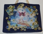 Harmony Tote Bag Blue Canvas Hand Painted Fantasy Fabric Applique Design and Diamond Embellishments