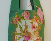 Designers Fantasy Edition Canvas Tote Bag Custom Hand Painted Floral Fabric Applique Design