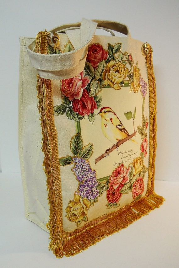 Canvas Tote Bag Custom Hand Painted Floral Bird Fabric Appliques Gold Fringe and Pendant Embellishment