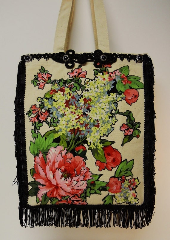 50% OFF Canvas Tote With Custom Floral Fabric Applique Design And Black Fringe
