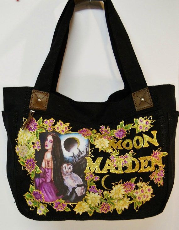 50% Sale Moon Maiden Goth Canvas Handbag Black Custom Hand Painted With Fabric Applique Designs