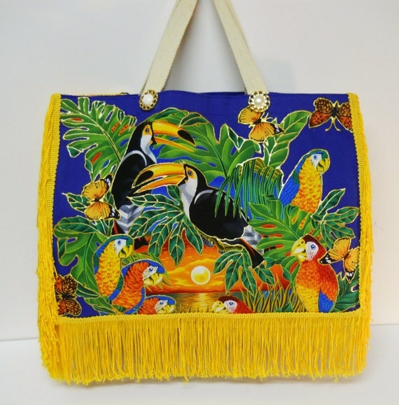 Exotic Bird Tote Canvas Royal Blue with Fabric Applique Design and Yellow Fringe