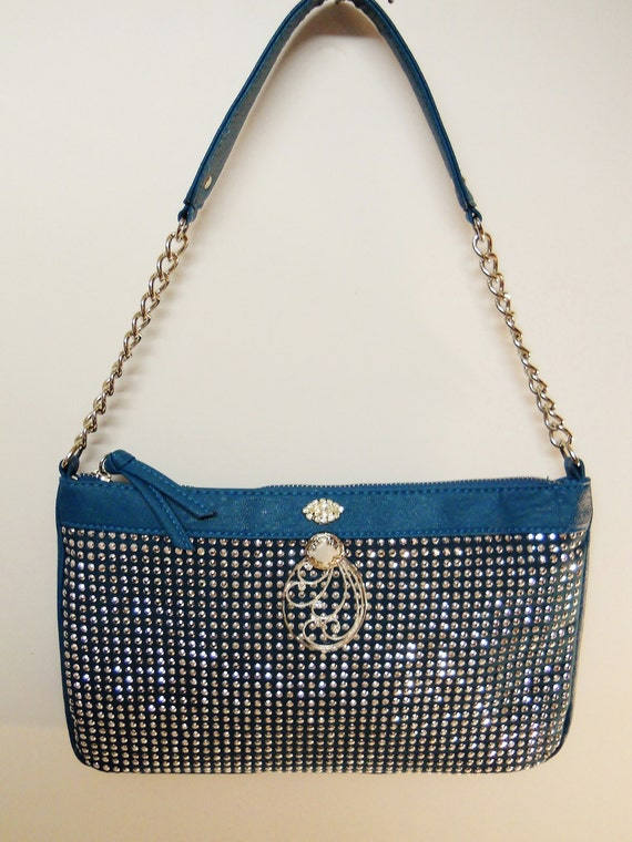 Teal Blue Beaded Diamond Purse with 14 Inch Strap and Embellishment