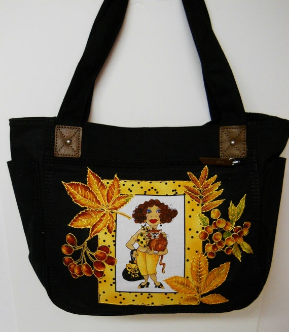 SALE PLUNGE 75% Off Spicy Black Heavy Duty Canvas handbag Custom Designed with Fabric Block Leaves and Berries
