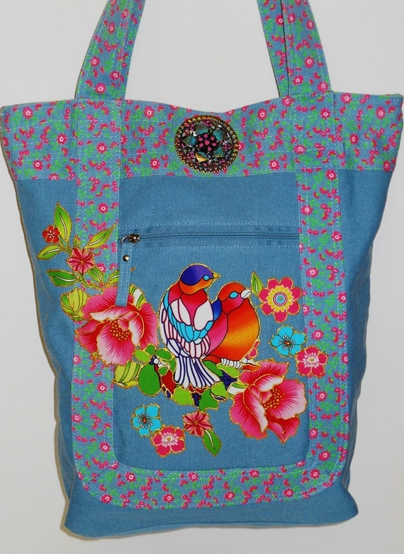 Sale 60% Off Blue Canvas Tote With Colorful Lovebirds Fabric Applique Design and Pendant Embellishment