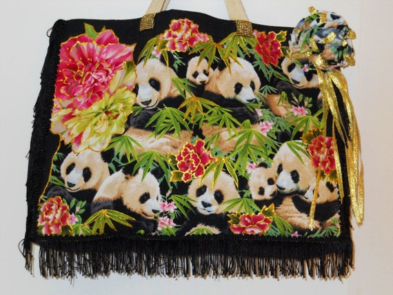 Sale 25% Off Black Canvas Tote With Custom Panda Fabric Appliques and Black Fringe