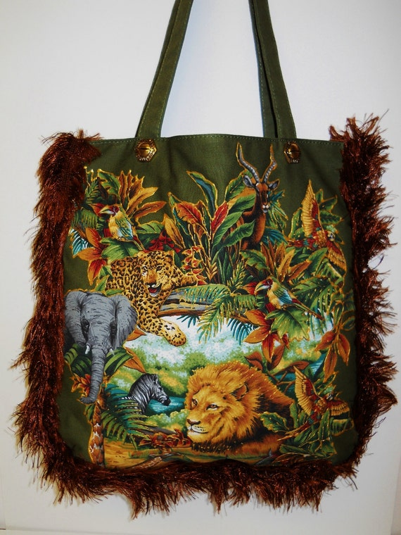 Sale 75%Canvas Olive Green Tote With Custom Jungle Animal Fabric Applique Design and Brown Fuzzy Fringe