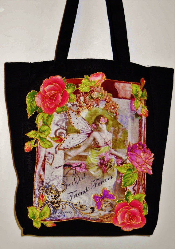 Big Sale 50% Off Tote Bag Black Canvas Hand Painted Custom Victorian Fabric Applique Design, Fabric Block Created by Sherri Baldy
