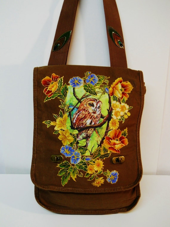 Holiday Sale75% Off Hooting Tooting Brown Canvas Handbag Hand Painted with Floral Fabric Applique Design