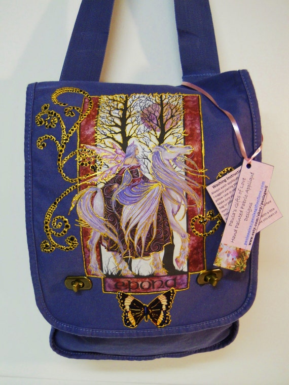 Sale 75% OFF Fantasy Lovers Canvas Handbag Blue With Custom Hand Painted Fabric Appliques