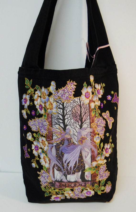 Holiday Sale 70% Off Tote Bag Black Canvas Hand Painted Custom Fantasy Fabric Applique Design