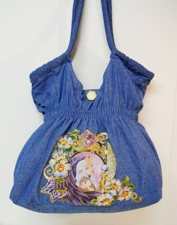 PRICE Plunge 75% Off Denim Handbag Fantasy Fabric Applique  CustomDesigns with Diamond Embellishments