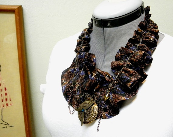 Collar - Upcycled Silk Tie Embellished Steampunk Collar
