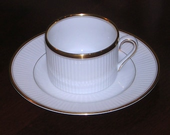 Fitz & Floyd Classique d'or White Cup and Saucer