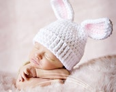 baby bunny hat newborn photography prop pink for girl or blue for boy