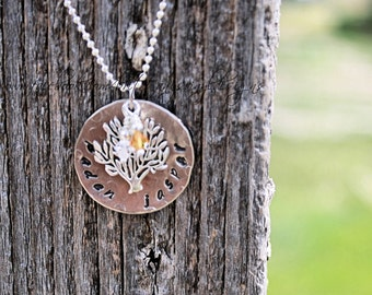 Hand Stamped Tree Necklace - Engraved - Unique - Hand Stamped Necklace - Birthstone Crystals - Personalized - Circle of Life