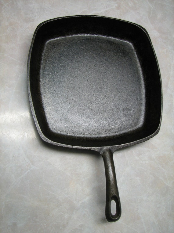 Cast Iron Square Skillet Chefs Pan Bacon Frying Pan