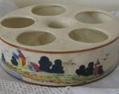 RESERVED!!  Vintage Egg Holder Server Handpainted Ceramic Sailing Boats Windmills Collectible Display