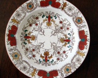 Antique Soup Dish Polychrome Transferware Aesthetic Lahore Boote Staffordshire Victorian Collectible Circa 1870s