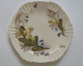 Antique Transferware Plate Springtime Primrose Bluebells Staffordshire England Victorian Wildflowers Collectible