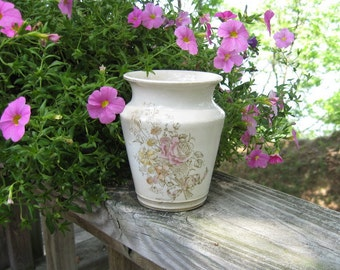 Vintage Transferware Toothbrush Holder Vase Flowers Ribbons Country Cottage Collectible Home Decor