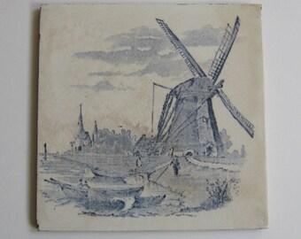 Vintage Blue Transferware Tile Hemixem Belgium Landscape Windmill River Scene Fireplace Trivet Kitchen Decor Architectural Antique