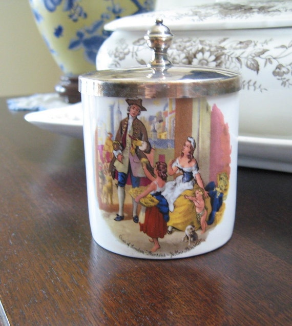 Vintage English Sugar Jam Pot Silverplate Lidded Cries of London Primroses Royal Norfolk Staffordshire Collectible
