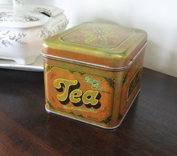 Vintage Tea Caddy Canister Advertising Amber Blend Chein Industries