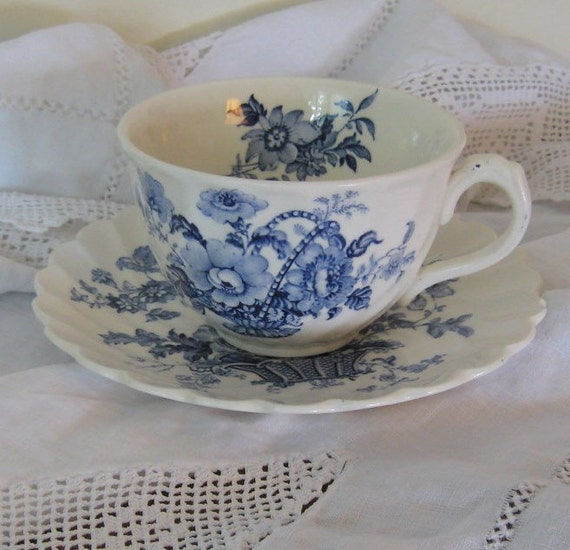 Vintage Transferware Charlotte Cup and Saucer Clarice Cliff Staffordshire England Country Cottage