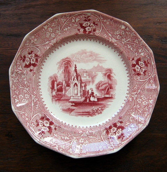 Antique 1850 Plate Transferware William Adams Columbia Romantic Staffordshire England Collectible