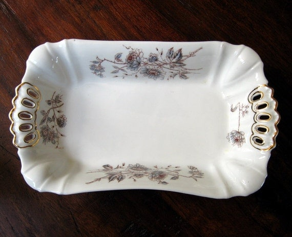 Antique Dish 1908 Porcelain Leonard Vienna Austria Antique Brown and Blue Flowers Serving Display Collectible