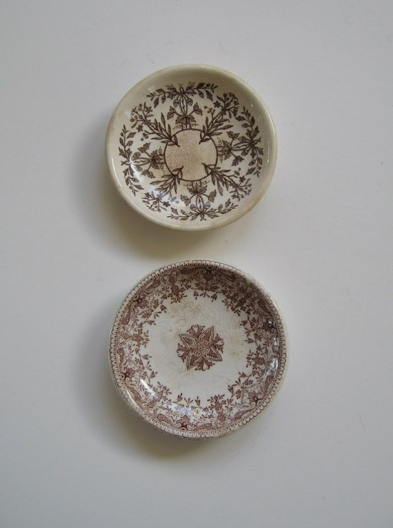 Antique Brown Transferware Butter Pats Lahore and Tournay Boote Staffordshire England Victorian Collectible 1880 and 1899