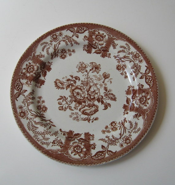 Transferware Antique Plate Persian Rose Baker Staffordshire England Collectible Display