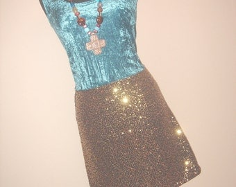 Teal Blue Velvet and Gold Sequin Boho Chic Party Dress SIZE M