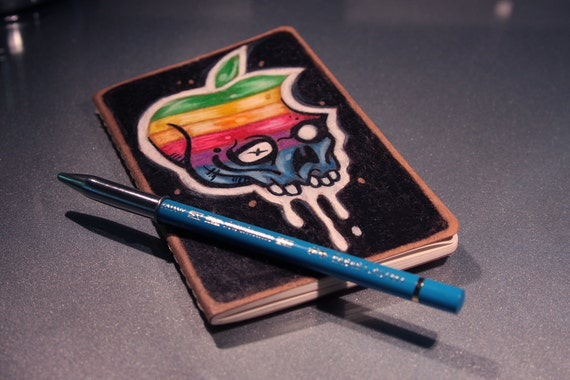 Hand Drawn Hackintosh Rainbow Luddite Blue Journal