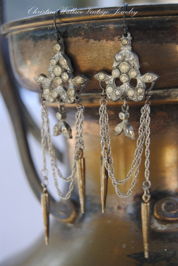 RESERVED--Nouveau Tassels--Vintage Assemblage Art Nouveau Rhinestone Chain Tassel EARRINGS