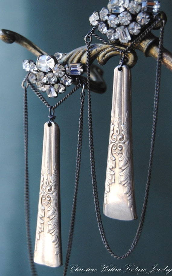 RESERVE for TERESAMF59--Dinner for One--Vintage Assemblage Silverplate Flatware Art Deco Rhinestone Chain EARRINGS