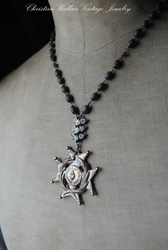 Sacred Heart Medallion Necklace-- Vintage Assemblage Rhinestone Rosary Garnet Bird Charm NECKLACE