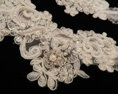 Delicate Alencon Lace Garter with Pearls with Throw Away Garter