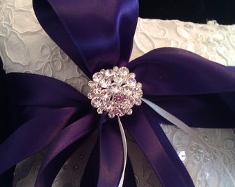 Embellished Alencon Lace Ring bearer Pillow with Purple satin ribbon and Rhinestones