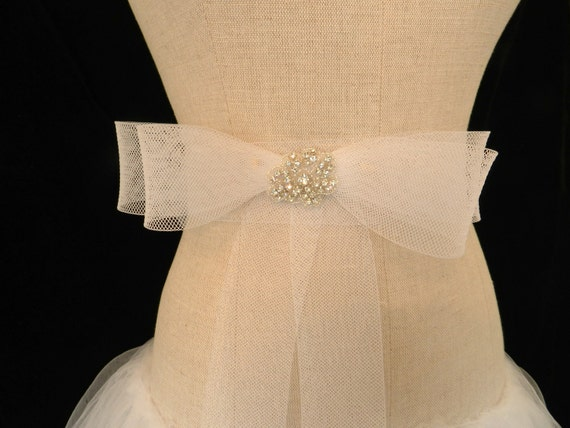 "Crystal and Horsehair Bridal Sash ""The Monique"""